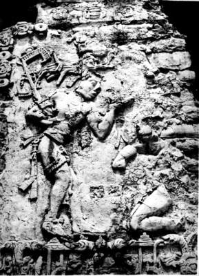 Detalle de relieve en estuco del Palacio de Palenque, reprografía