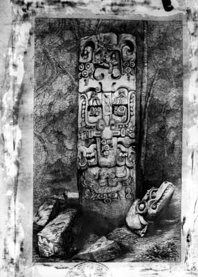 Litografía de la parte posterior de la Estela B de Copán, realizada por Frederick Catherwood, reprografía