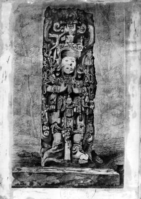 Litografía de la Estela B de Copán realizada por Frederick Catherwood, reprografía