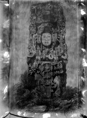 Litografía de la Estela N de Copán realizada por Frederick Catherwood, reprografía