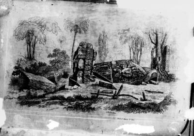 Litografía de la Estela C y el Altar Oeste realizada por Frederick Catherwood, reprografía