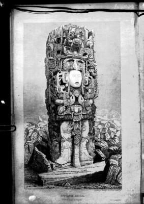 Ilustración de la estela N de Copán realizada por Catherwood, reprografía