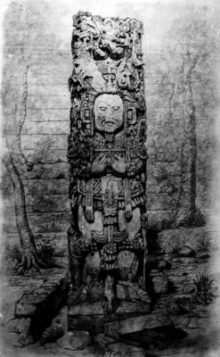 Litografía de la Estela D de Copán realizada por Catherwood, reprografía