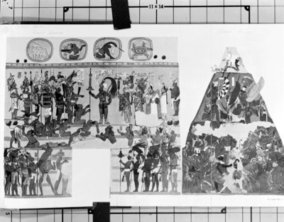 Dibujo de los frescos del cuarto No. 2 en la pared este, reprografía