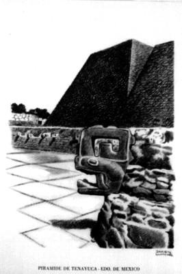 Dibujo de la pirámide de Tenoyuca, reprografía