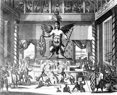Ilustración de un ídolo mexicano procedente del libro El mundo nuevo y desconocido o Descripción de América y del Sur, reprografía bibliográfica