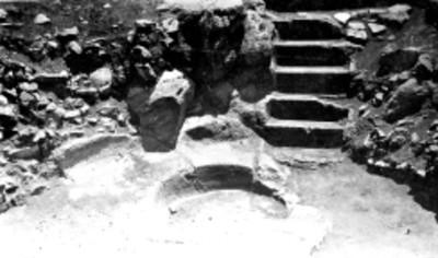Aspecto de los baños de Netzahualcoyotl el el cerro del Tetzcotzinco, reprografía
