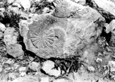 Petroglifo en los baños de Netzahualcoyotl en Tetzcotzinco, reprografía