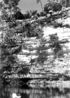 Panorámica del interior del cenote sagrado de Chichén Itzá, reprografía