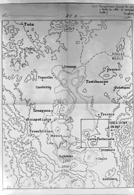 Mapa parcial de los estados de Hidalgo y de México que muestra zonas arqueológicas, reprografía
