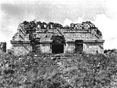 Templo del lado Oeste del Conjunto del Cementerio, Uxmal, reprografía