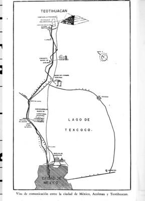 Plano de las vías de comunicación entre México, Acolman y Teotihuacán