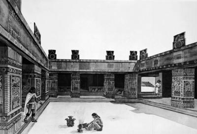 Dibujo reconstructivo del interior del Templo de Quetzalpapálotl, reprografía