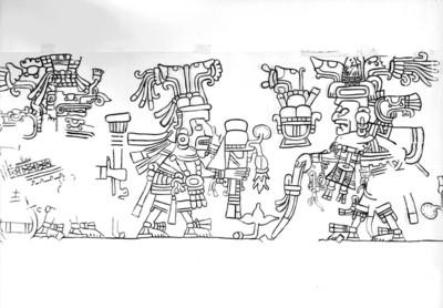 Dibujo que muestra una procesión de personajes mayas, reprografía