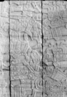 Tablero noreste del Juego de Pelota Sur, escena de la decapitación de un jugador