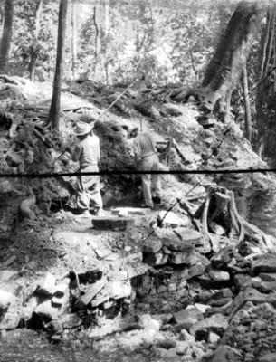 Hombres realizan trabajos de exploración en Palenque