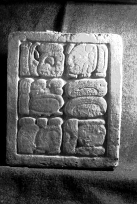Relieves con escritura maya del Palacio, vista