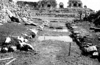 Vista de los trabajos de reconstrucción en Palenque