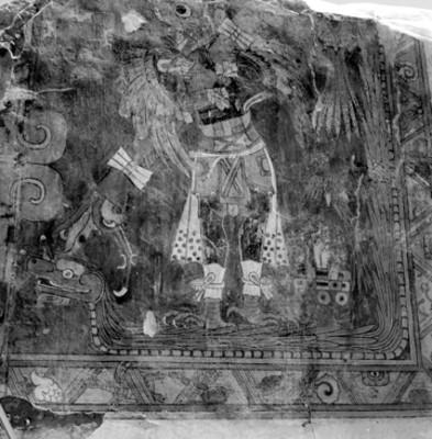 Pintura prehispánica con la representación de un hombre-pájaro