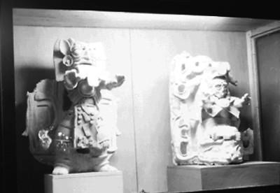 Vasija y figurillas de jaina en exhibición