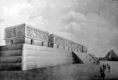 Dibujo del Palacio del Gobernador en Uxmal