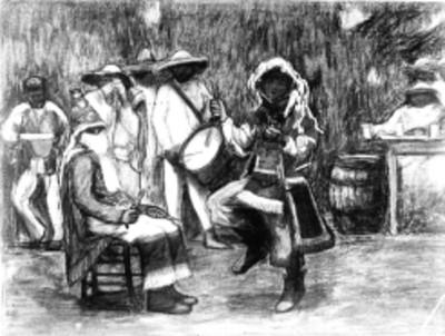 Danzante y músicos en una pulquería, dibujo