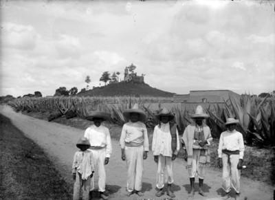 Indígenas otomíes sobre el camino junto a magueyal, retrato de grupo