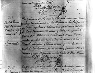 Acta de defunción de Francisco Heredia y Mieses