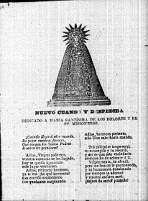"""Letra del """"Nuevo cuando y despedida"""" dedicado a María Santísima de los Dolores y RR PP misioneros, publicación"""