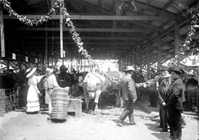 Gente en la exposición de agricultura y ganadería durante los festejos del centenario