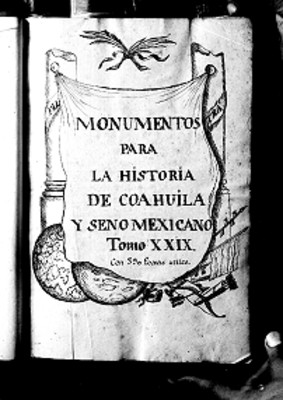 Monumentos para la historia de Coahuila y seno Mexicano, portada de libro