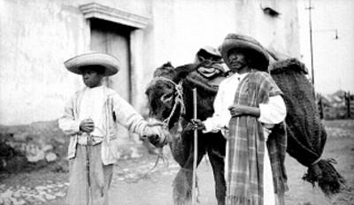 Arrieros junto a burro con carga de carbón en la calle de un poblado
