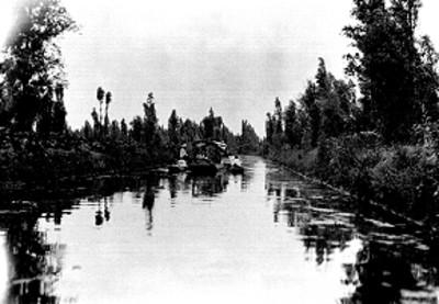 Gente en canoas sobre un canal de Xochimilco, vista general
