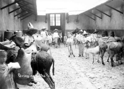 """Rancheros con acémilas y carga de pulque, """"105 Bringing in the pulque"""""""