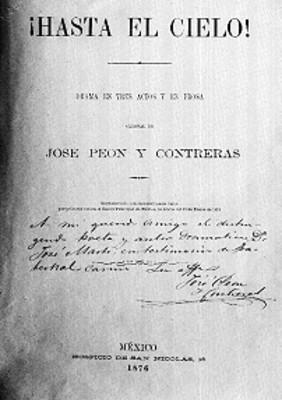 """""""¡Hasta el Cielo!"""" obra de José Peón y Contreras, portada de libro, reprografía"""