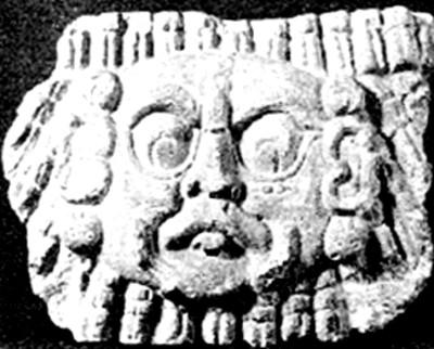 Cara maya esculpida en piedra, reprografía