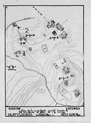 Plano de la Zona arqueológica de Uaxactún