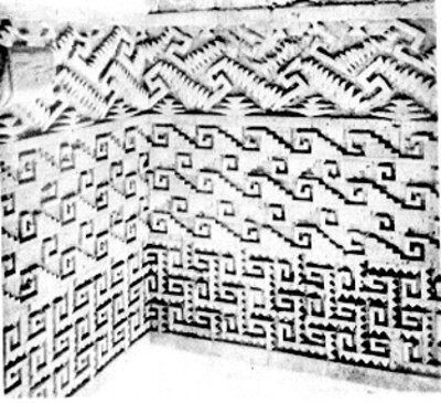 Decoración en el interior de los edificios del conjunto de las columnas en Mitla, reprografía