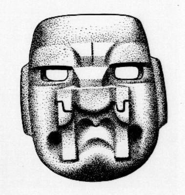 Boceto de mascara olmeca, reprografía