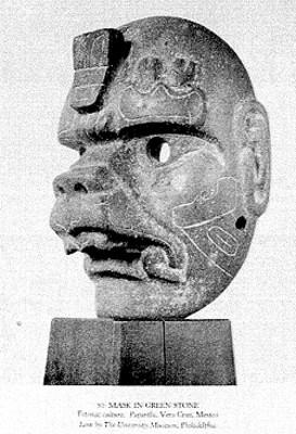 Máscara en piedra de la cultura Totonaca, reprografía