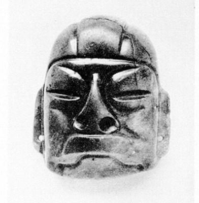 Máscara maya tallada en piedra, reprografía