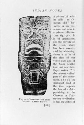 Ilustración de hacha olmeca, reprografía