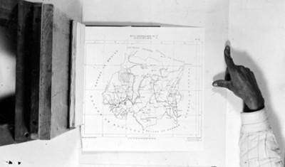 Mapa referente a los sitios arqueológico del estado de Morelos, reprografía