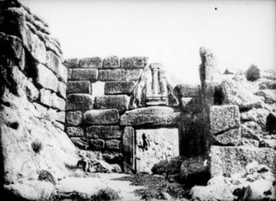 Vista parcial de la entrada de los leones, reprografía