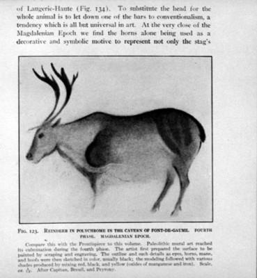 Pintura rupestre con la figura de un reno de la cueva de Font-de-Gaume, reprografía
