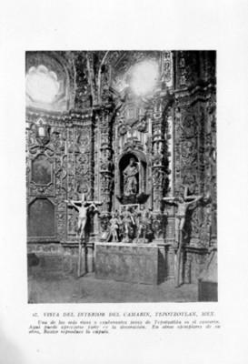 Vista parcial del altar del convento de Tepozotlán, reprografía