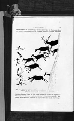 Caceria de ciervos, pintura rupestre, ilustración