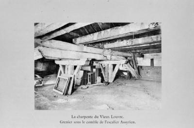 Ilustración de las vigas de madera en la retauración del Museo Louvre, reprografía