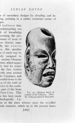 Ilustración cabeza Olmeca realizada en jadeita, reprografía