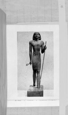 Ilustración de una escultura egipcia, reprografía